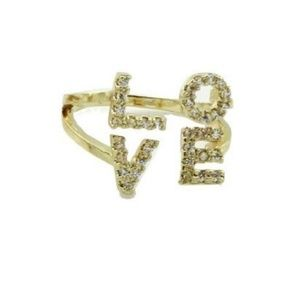 18K Gold Plated Pave Love Ring